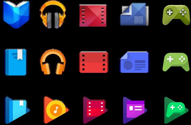 Google Play ikonok fejlődése