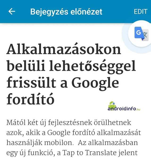 Alkalmazásokon belüli Google fordítás