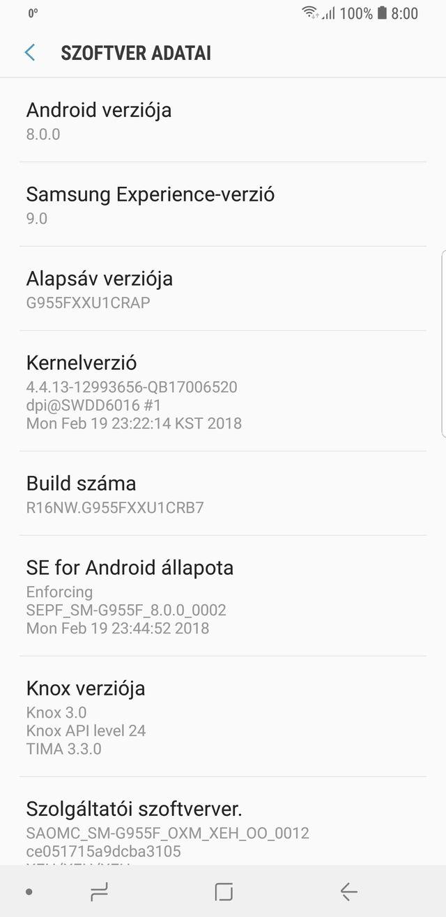 Samsung Galaxay S8+ Oreo
